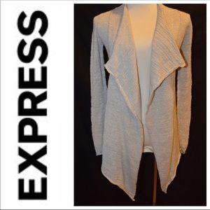 Express Gray Silver Metallic Open Front Cardigan